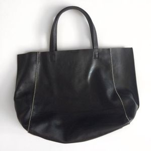 Express Faux Leather Black Tote w Adjustable Strap